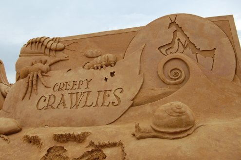 The entrance vignette at Creepy Crawlies sand sculpture exhibition